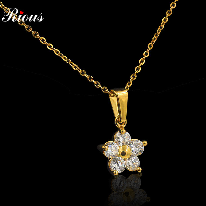 OL AAA+CZ Diamond Chain star pendant Necklaces & Pendants 18K Gold Plated Fashion Brand Crystal Party/Wedding Jewelry Women(China (Mainland))