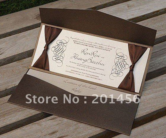 Aliexpresscom buy brown pocket wedding invitations free for Buy wedding invitations in store