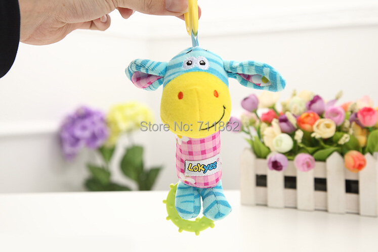 baby Animal Model Hand bell Soft Rattles plush toy(China (Mainland))