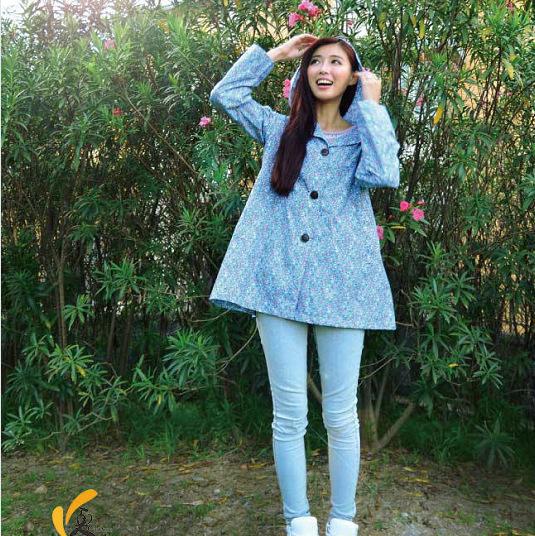 New 2014 Fashion Woman Raincoat Rain Cover Waterproof Elegant Flower Woman Coat Raincoat Women Rain Trench Nylon(China (Mainland))