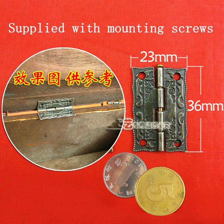 36*23MM 1.5 inch Zinc alloy hinge Cabinet hardware accessories Lace hinge Wooden hinges Provided screws Wholesale(China (Mainland))