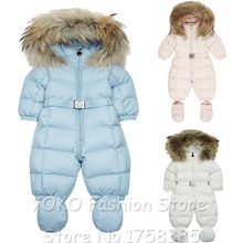 Free shipping designer style little kids winter jumpsuit baby romper for baby boys girls real thick fur snow outwear(China (Mainland))