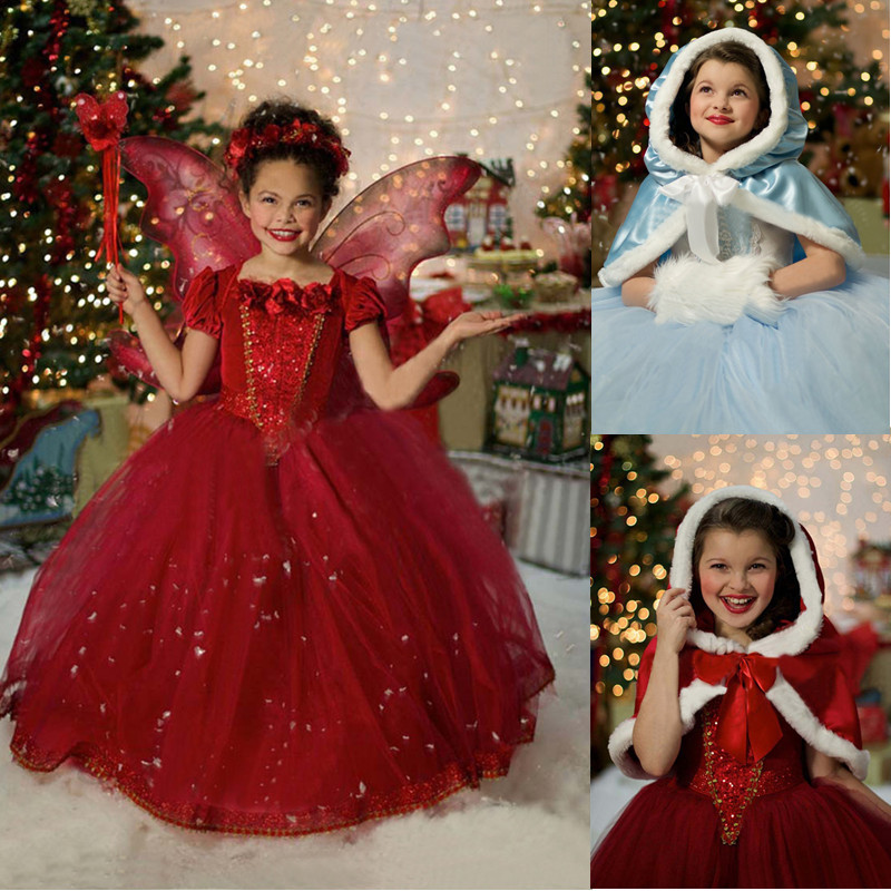 Retail Red Hooded Christmas Girls Dress For Kids Brand Elsa Costume Baby Dresses Princess Girls Clothing Children Winter Clothes(China (Mainland))