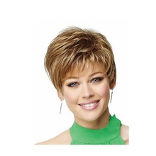 Natural highlights short blonde wig synthetic afro hair, puffy straight short wigs for black women free ship(China (Mainland))