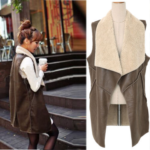 Faux Fur Vest Lady Winter Warm Cream Waistcoat Long Gilet Jacket Outerwear Tops(China (Mainland))