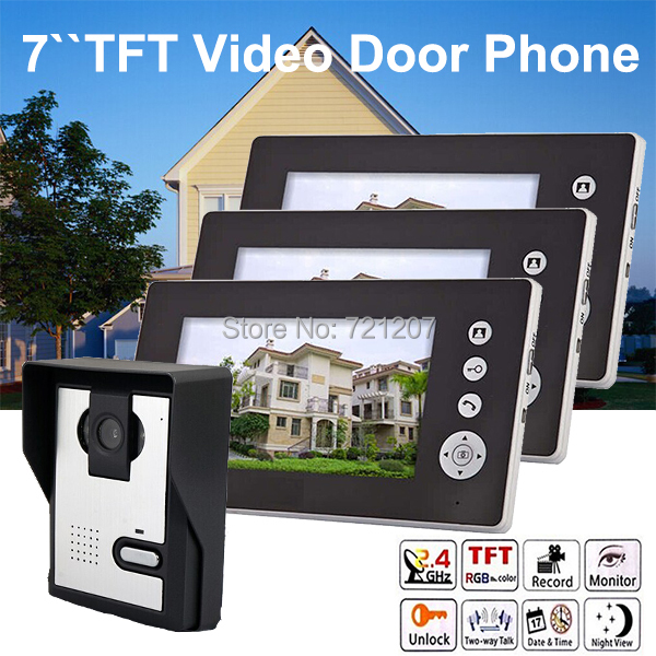 1V3 Wireless 7inch TFT LCD Video Door Phone Intercom outdoor camera with indoor monitor Entry Guardian(China (Mainland))