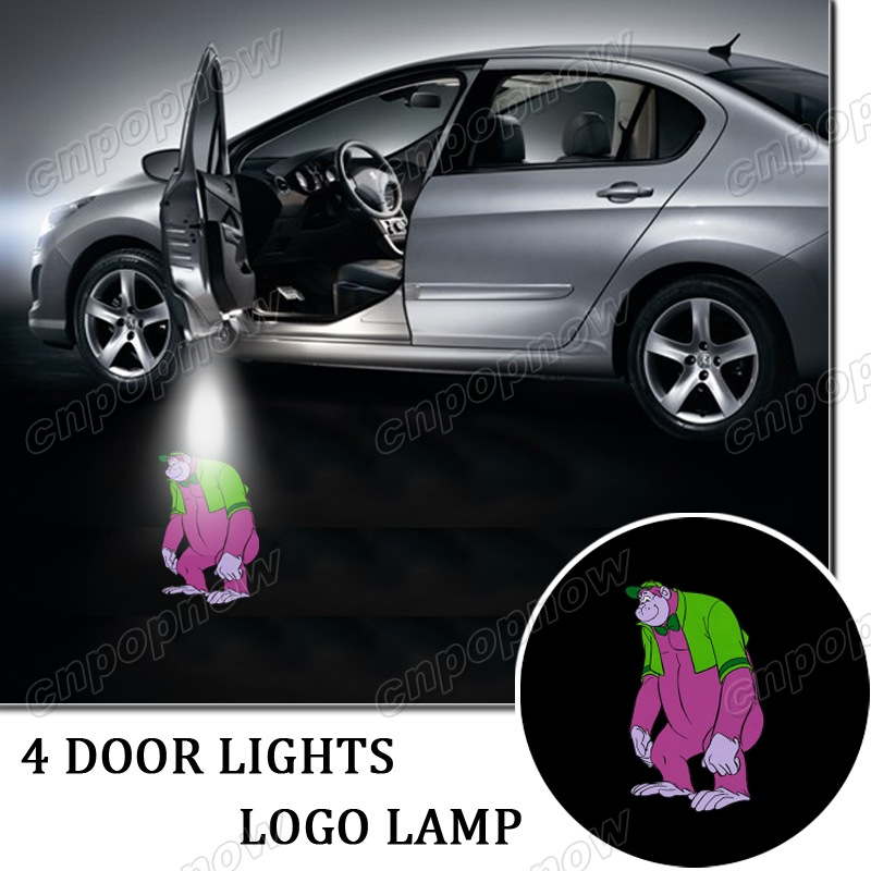 4pcs Type Car Door Welcome Park Logo Badge Lights LED Laser Ghost Shadow Projector Lamp Symbol for The Great Grape Ape #6160*4#(China (Mainland))