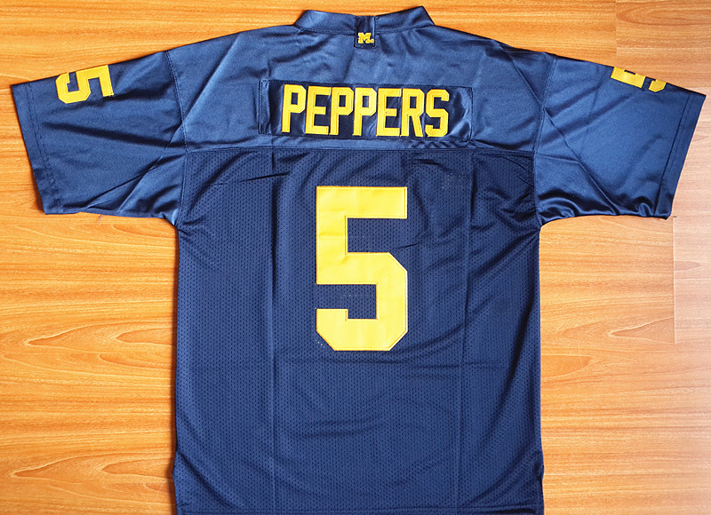 2016 Cheap Michigan Wolverines Jersey, Michigan Wolverines #5 Jabrill Peppers blue College Football Jersey Stitch Logos(China (Mainland))