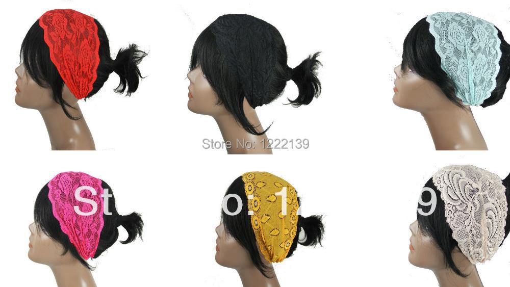 Fashion Elastic Lace Turban Headband Hair Band Reversable Floral LACE Bud Silk Head Wraps Mix Colors(China (Mainland))