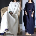 2016 New spring Summer Style Women Cotton Linen loose long Dress raglan sleeve elegant China Style