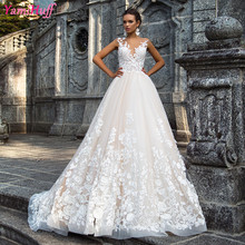 Luxury Champagne African Wedding Gowns Lebanon Sexy Open Back 2017 Lace Bridal Wedding Dress Princess China Online Store Y03(China (Mainland))