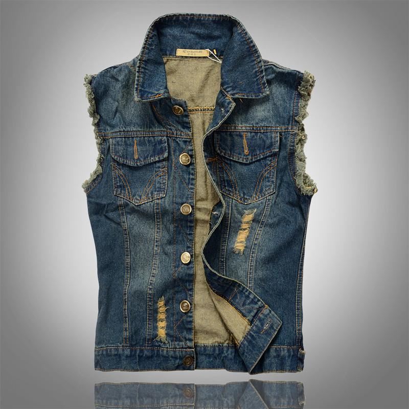 navy blue Jeans Vest men sport 2014 fit mens casual denim waistcoat free shipping sleeveless jacket big size M-5XLОдежда и ак�е��уары<br><br><br>Aliexpress