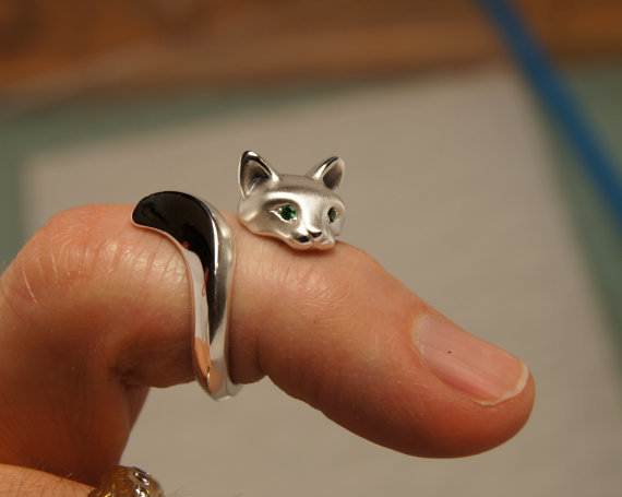 Lovely cat ring fashion two colors alloy plated charming opened rings jewelry R003(China (Mainland))