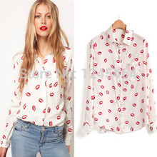 XS-5XLplus size cheap clothes china 2015 Spring flower printed shirt women Red lip women Blouses floral shirt Long Sleeve blouse