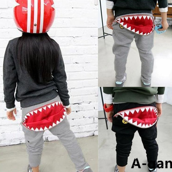 2015 Spring New Kids Boys & Gilrs Sport Pants Mouth teeth Loose Casual Cotton shark Sports Trousers Harem - Agan Trading Company store