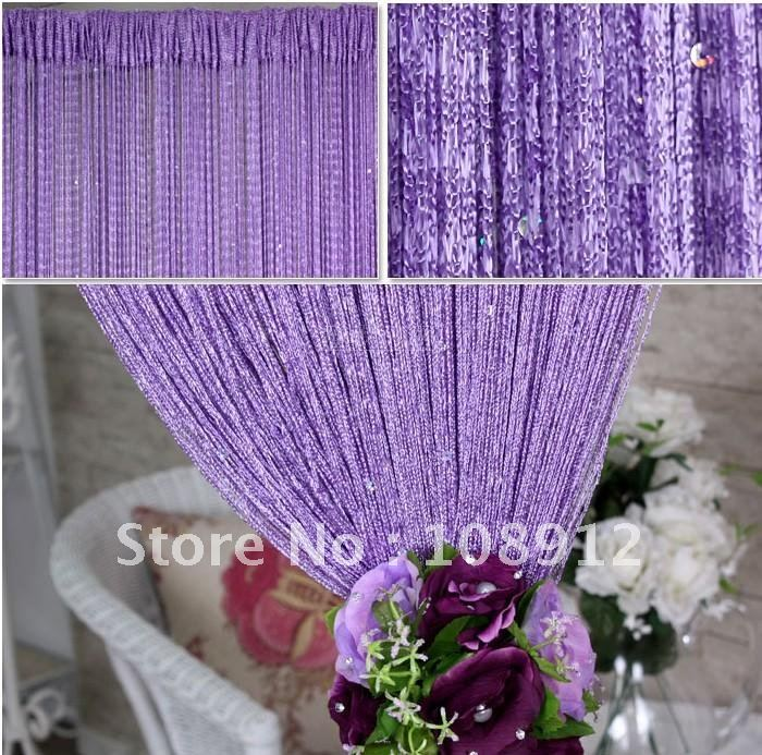 Free Shipping Wedding Decorations String Curtain Purple Handmade Polyester Curtain Cheap String