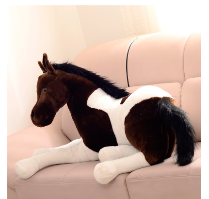 new simulation plush horse toy stuffed dark brown&white horse doll gift about 70cm(China (Mainland))