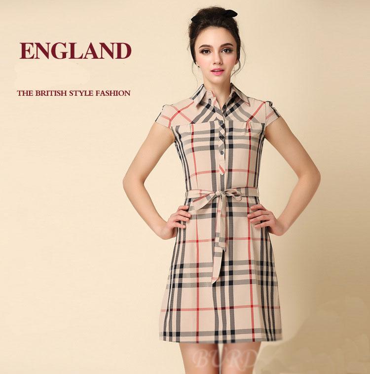 New 2014 Top Brand Spring Summer Scottish Plaid Dress, Women England Vintage Vestidos Plus Size S-XL Dresses, Free Shipping.(China (Mainland))