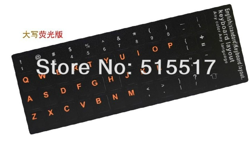 50pcs/lot Plastic PVC  Red capital English Letters Euro Langue layout keyboard stickers<br><br>Aliexpress