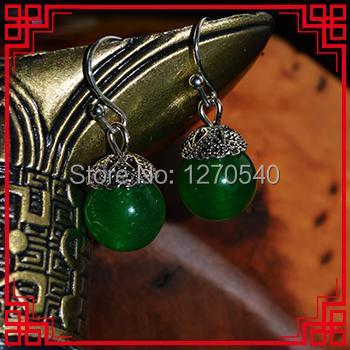 Tibetan silver earrings ,New Ethnic jewelry chalcedony stone earrings handmade original dangle earrings green(China (Mainland))