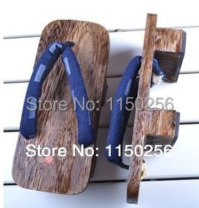 2014 Japanese Men's Double Heels Wooden Geta Kimono Yukata Clog Sandal clogs cosplay bench Shoes and flip-flops jandals Mules(China (Mainland))