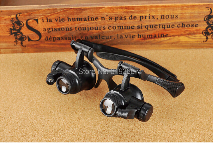 10x 15x 20x 25x Watch Repair Dental Loupes Binocular Glasses Style Magnifying Glass With LED Lights Eyewear Magnifier(China (Mainland))