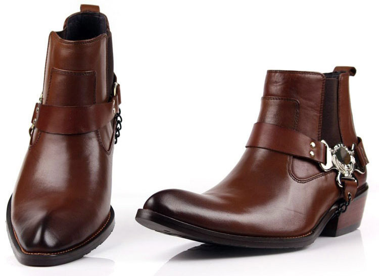 High quality genuine leather men ankle boots, Autumn boots for men, Stylish Cool man shoes Size38-44 Bo38(China (Mainland))