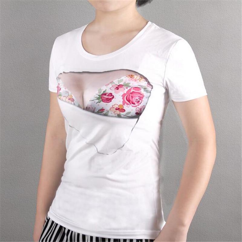 Big Rose Print 3d T Shirt Women Arctic Sexy Breast Tshirt: girl t shirts design