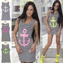 3 Colors Black Navy Striped with Printed Anchor Women dresses Sleeveless Long Tank Tops Skinny Vest Dress Plus Size S/M/L(China (Mainland))