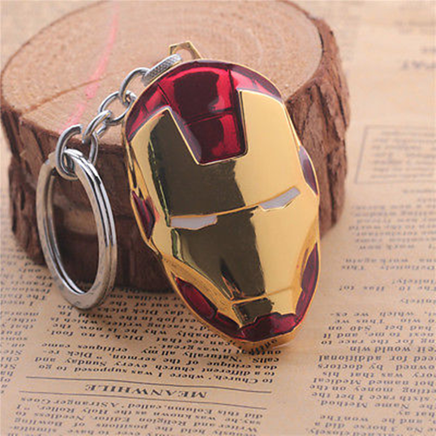 Hand-done fashion personality style movie hero Iron Man mask gold metal key chain car key chain model toy gifts(China (Mainland))