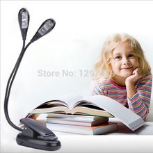 Retail and wholesale! New Clip 2 Arm 4 LED Book Reading Music Stand Light Lamp For Laptop Ebook Reader free shipping(China (Mainland))