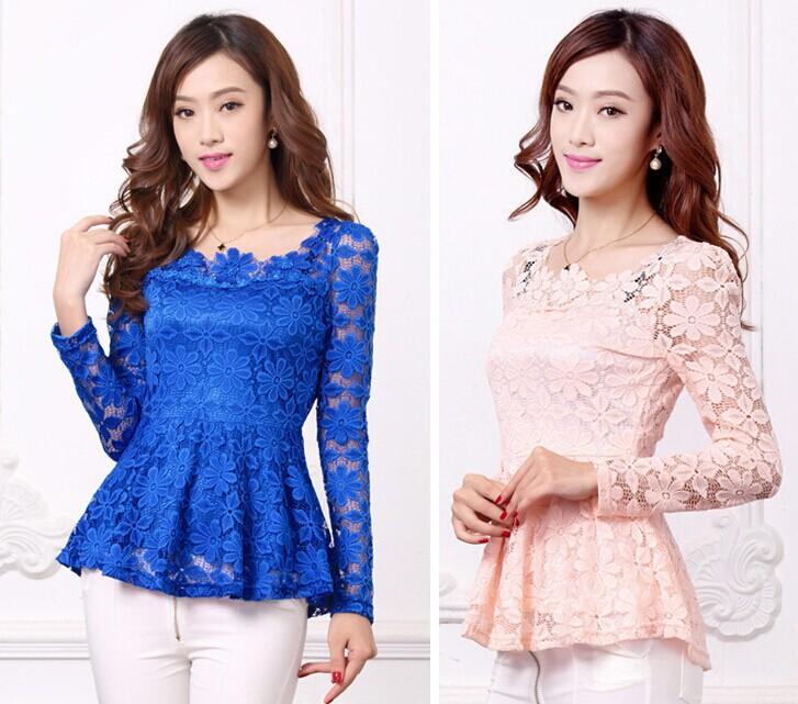 S-4XL Plus size2014 Autumn Long-sleeve Lace shirt Hollow Ruffle Tops Lacing Women Blouses shirts - Fashion Store1008 store