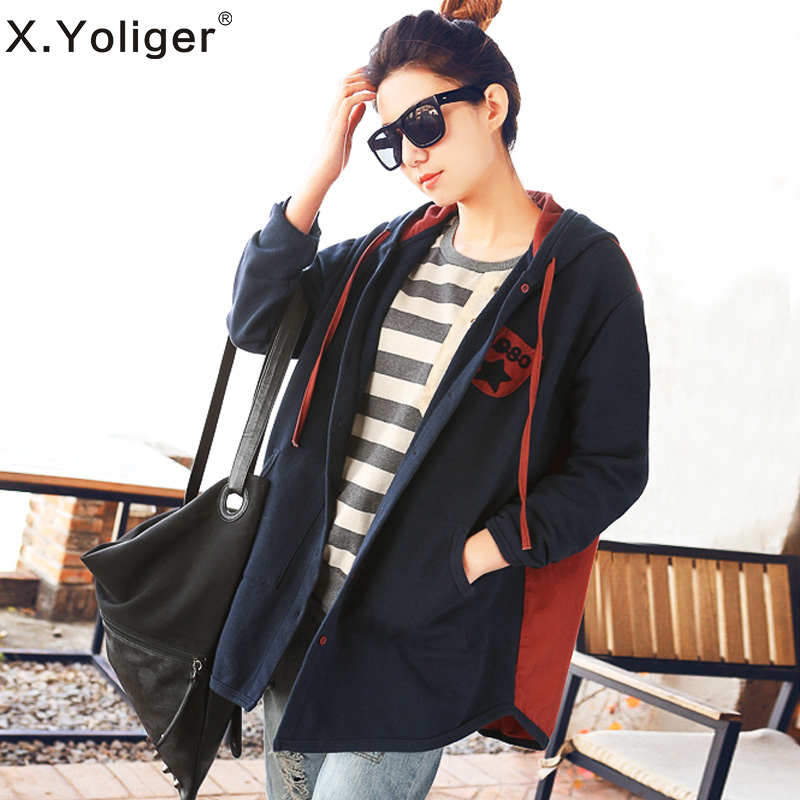 2015 new autumn European and American Style Loose Casual Coats Long Sleeve Letter Pattern Women's outerwear 343042(China (Mainland))