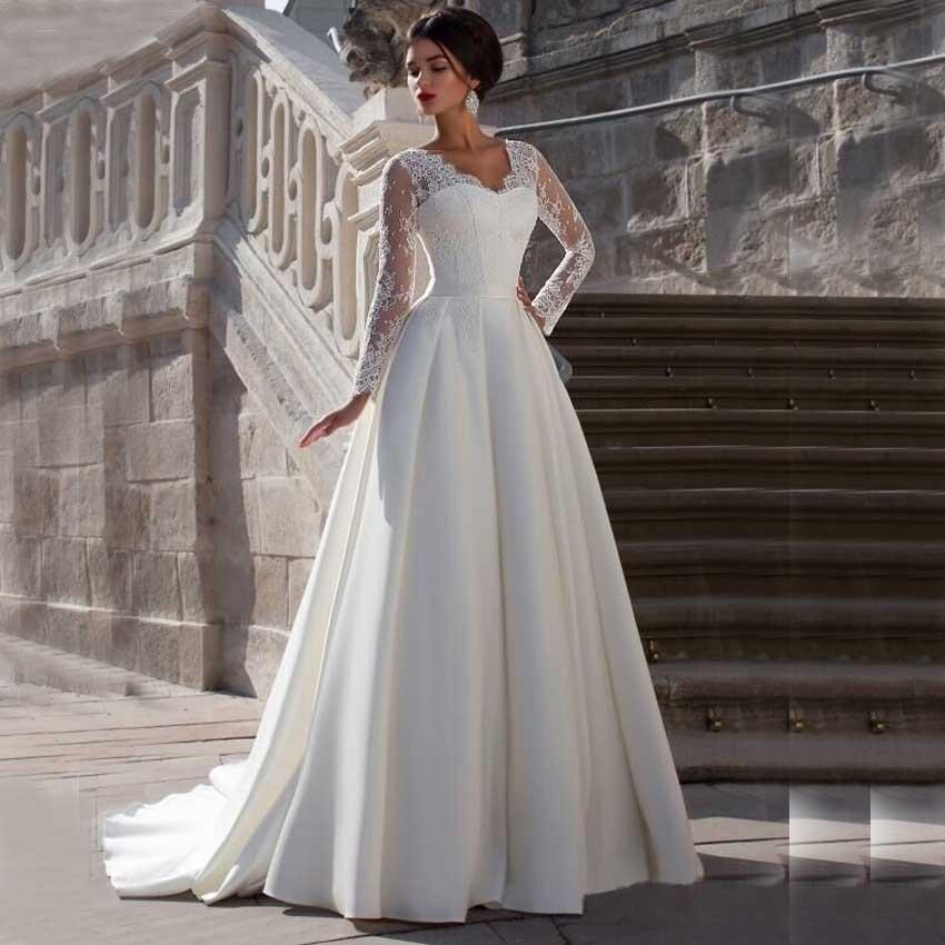 Wedding Dress Long Sleeve V Neck : New dw lace long sleeve v neck a line