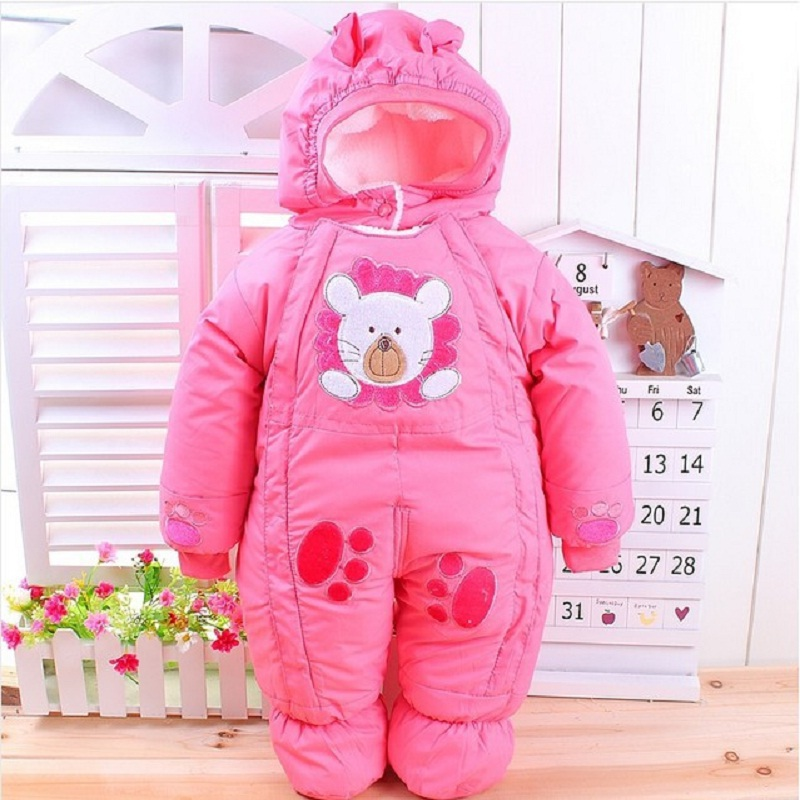 Free Shipping 2015 Winter newborn baby thick rompers children wadded jacket kids warm cotton-padded fleece jumpsuits overalls(China (Mainland))