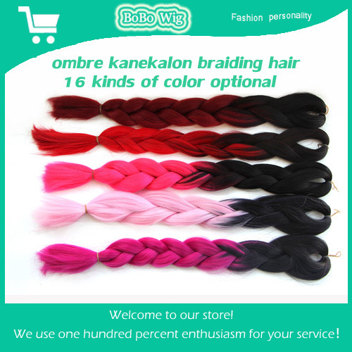 5pc/lot 24 inch 100g Ombre kanekalon jumbo braiding hair synthetic weave xpression braiding hair colors ombre hair extensions(China (Mainland))