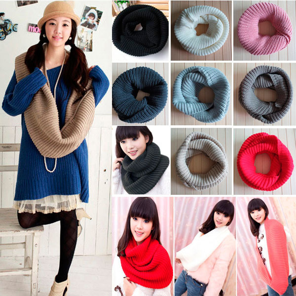 New Winter Warm Ladies Girls All-match Knitting Wool Collar Neck Warmer Scarf Shawl Wraps For Women ES88(China (Mainland))