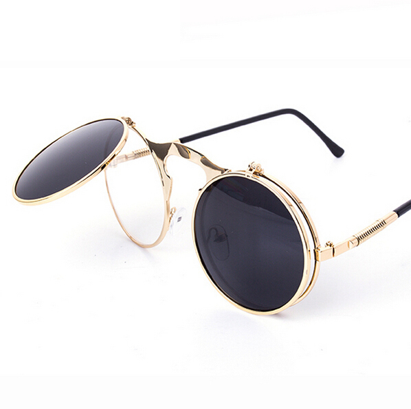VINTAGE STEAMPUNK Sunglasses round Designer steam punk Metal OCULOS de sol women COATING SUNGLASSES Men Retro CIRCLE SUN GLASSES - Exquisite Women fashion Jewelry Co., Ltd. store