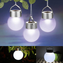 4 X Outdoor Solar Hanging Lights Ball Shape Dia14cm ABS+Stainless steel White Solar Garden Lamp Waterproof led  Lawn Tree Light(China (Mainland))