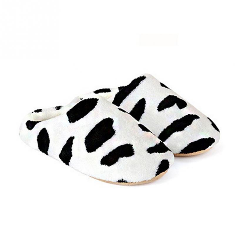 New Women Anti-slip Flat Shoes Soft Winter Warm Cotton Cow House Indoor Slipper(China (Mainland))