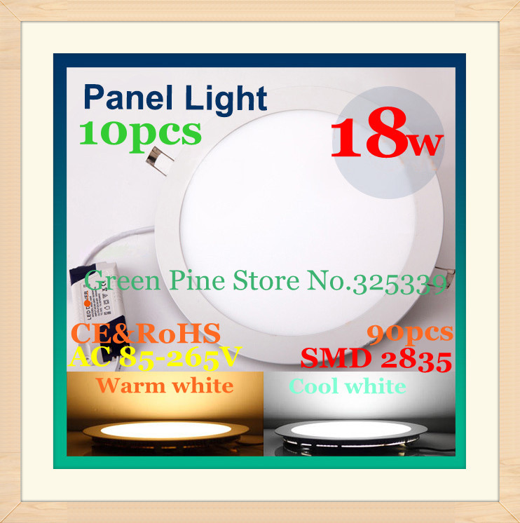 FedEX Free shipping New style 10 pcs round led panel light 18W 1600LM AC90-265V 2835 SMD bulb lamp warm/cool white ceiling light<br><br>Aliexpress