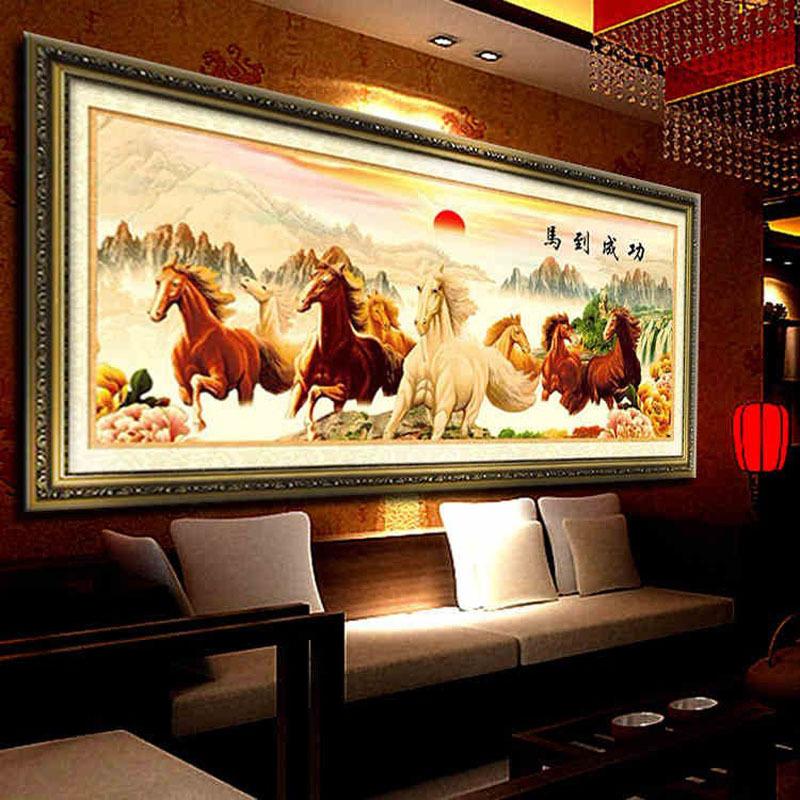 Needlework,DIY DMC 3d the rising sun cross stitch, Eight fine horses cross-stitch,success immediately upon arrival Wall Decro(China (Mainland))