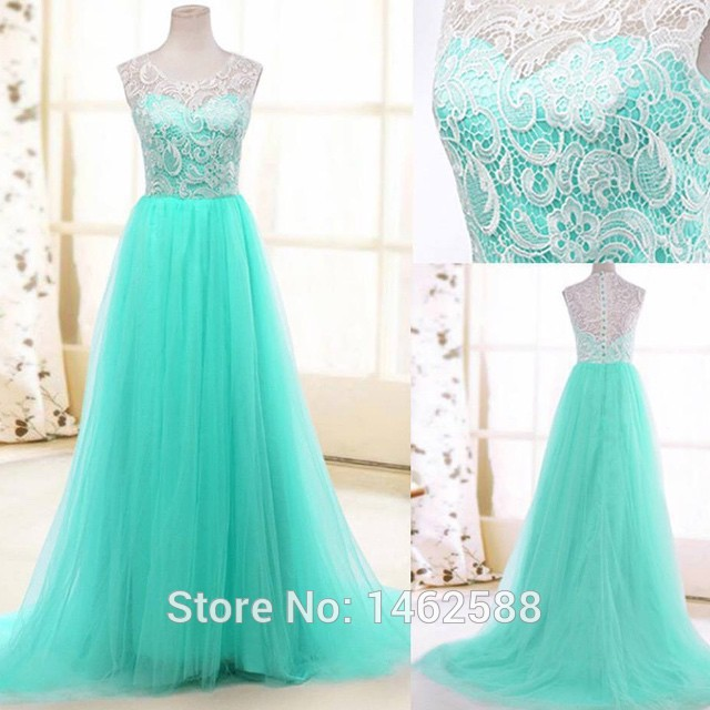 Real photo high quality white lace cap sleeves long tulle for Turquoise and white wedding dresses