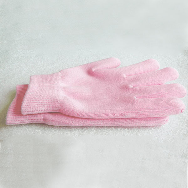 1 pair Spa Moisturising Gel Pink Gloves Dry Hand Care Therapy Skin Soften Repair Free shipping(China (Mainland))