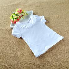 Children T shirt Girls 100 Cotton Tee Long Sleeve Lace Peter Pan Collar White T shirts