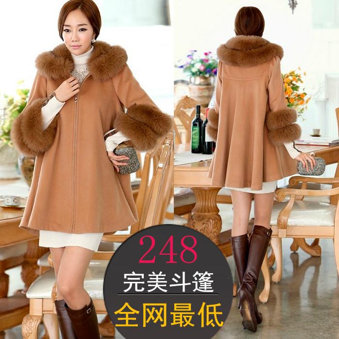 2015 winter plus size large fur collar elegant loose woolen outerwear macrotrichia cloak overcoat female - Super-Mom store