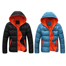 Winter Leisure Men Hooded Thick Padding Jacket Zipper Thin Coat