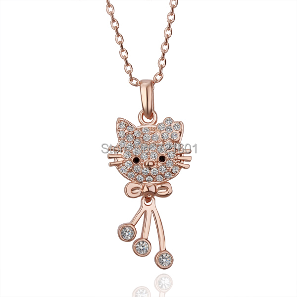 2000pcs/lot Free shipping crystal Necklaces,Plating rose gold,Nickel Free Rhinestone crystal hello kitty pendant necklaces(China (Mainland))