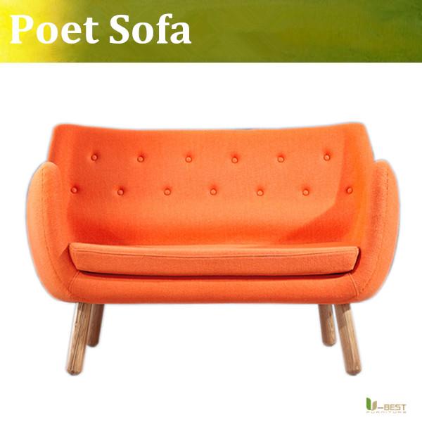 U-BEST Nordic lounge sofa chair Poet r sofa Finn Juhl Pelikan Chair 2 seater cloth sofa chair coffee shop loveseat sofa(China (Mainland))