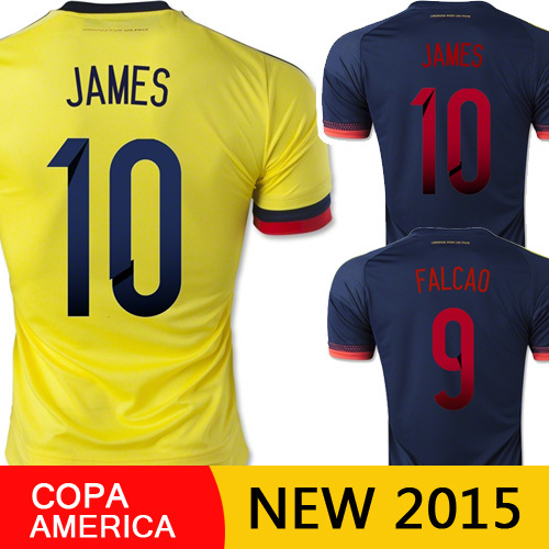 Free Shipping Colombia Jersey 2015 James Colombia Soccer jerseys 15 16 Falcao survetement Football men sport Shirt copa america(China (Mainland))